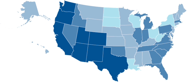 united states map BLUE