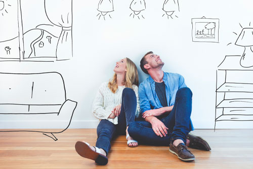 couple thinking of home interior